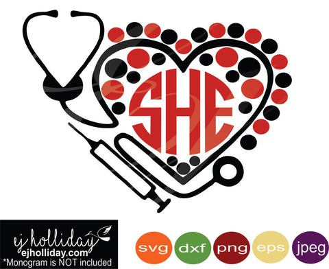stethoscope and needle monogram svg eps dxf png jpeg jpg VECTOR Graphic Design Digital Cutting File Instant Download Cameo Silhouette Cricut