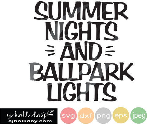 summer nights ballpark lights SVG EPS DXF JPG JPEG VECTOR Graphic Design Digital Cutting File Instant Download Cameo Silhouette Cricut