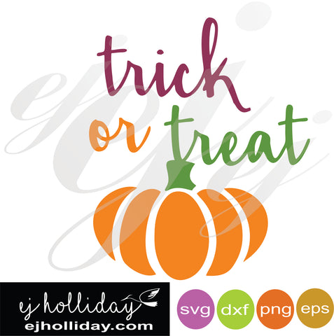 trick or treat with pumpkin SVG EPS DXF PNG VECTOR Graphic Design Digital Cutting File Instant Download Cameo Silhouette Cricut