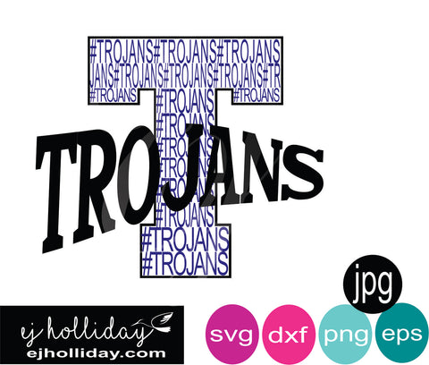 trojans in the letter T with curved Trojans SVG EPS DXF JPG JPEG VECTOR Graphic Design Digital Cutting File Instant Download Cameo Silhouette Cricut