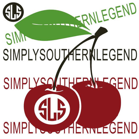 Cherry Monogram Instant Download Silhouette Cricut SVG DXF Vinyl Design