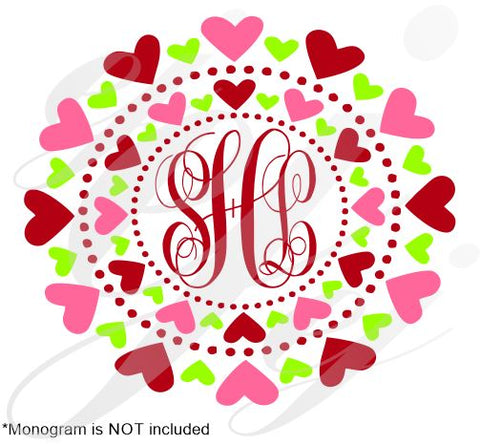 Sweet Hearts Monogram Frame SVG EPS DXF PDF JPG JPEG VECTOR Graphic Design Digital Cutting File Instant Download Cameo Silhouette Cricut