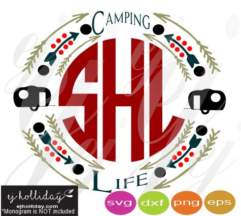 Camping Life Monogram Frame SVG EPS DXF PDF JPG JPEG VECTOR Graphic Design Digital Cutting File Instant Download Cameo Silhouette Cricut
