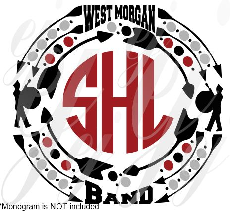 West Morgan Band Monogram Frame SVG EPS DXF PNG VECTOR Graphic Design Digital Cutting File Instant Download Cameo Silhouette Cricut