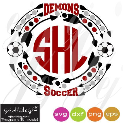 Demons Soccer Monogram Frame SVG EPS DXF PDF JPG JPEG VECTOR Graphic Design Digital Cutting File Instant Download Cameo Silhouette Cricut