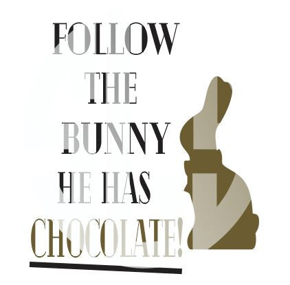 Follow the Bunny he has chocolate SVG DXF PDF JPG JPEG VECTOR Graphic Design Digital Cutting File Instant Download Cameo Silhouette Cricut