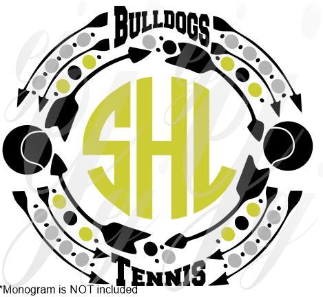 Bulldogs Tennis Monogram Frame SVG EPS DXF PDF JPG JPEG VECTOR Graphic Design Digital Cutting File Instant Download Cameo Silhouette Cricut
