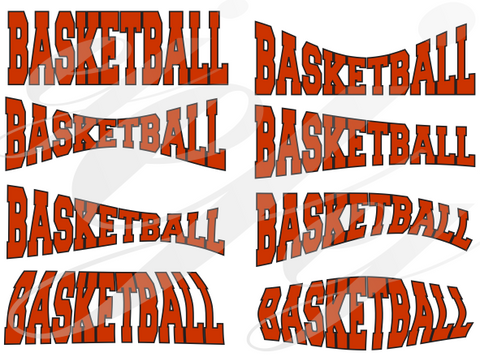 Basketball Curved SVG DXF PDF JPG JPEG VECTOR Graphic Design Digital Cutting File Instant Download Cameo Silhouette Cricut