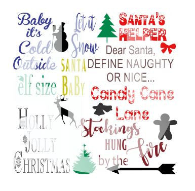 9 Pack Christmas SVG DXF PDF JPG JPEG VECTOR Graphic Design Digital Cutting File Instant Download Cameo Silhouette Cricut