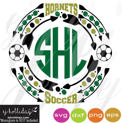 Hornets Soccer Monogram Frame SVG EPS DXF PNG VECTOR Graphic Design Digital Cutting File Instant Download Cameo Silhouette Cricut