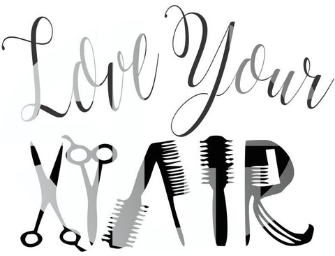 Love You Hair SVG DXF PDF JPG JPEG VECTOR Graphic Design Digital Cutting File Instant Download Cameo Silhouette Cricut