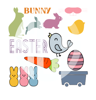 Easter Bunny SVG DXF PDF JPG JPEG VECTOR Graphic Design Digital Cutting File Instant Download Cameo Silhouette Cricut