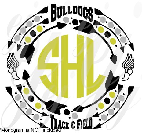 Bulldogs Track and Filed Monogram Frame SVG EPS DXF PDF JPG JPEG VECTOR Graphic Design Digital Cutting File Instant Download Cameo Silhouette Cricut
