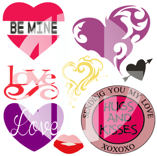 Hugs and Kisses Valentine Hearts SVG DXF PDF JPG JPEG VECTOR Graphic Design Digital Cutting File Instant Download Cameo Silhouette Cricut