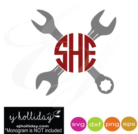 wrench monogram frame svg dxf eps png Vector Graphic Design Digital Cutting File Instant Download Cameo Silhouette Cricut