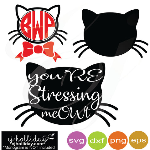 you're stressing meOWT svg dxf eps png Vector Graphic Design Digital Cutting File Instant Download Cameo Silhouette Cricut