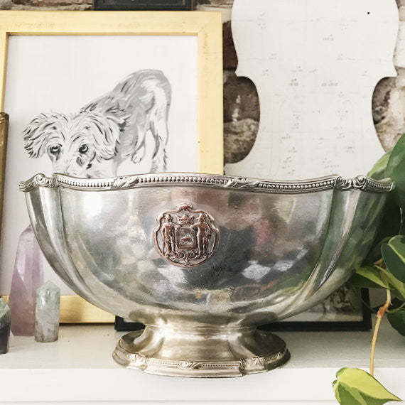 Antique 1908 Silver Plated Serving Bowl from Hotel Knickerbocker NYC