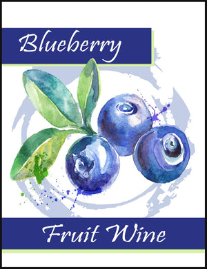 Blueberry Fruit Wine Labels - 30/Pack