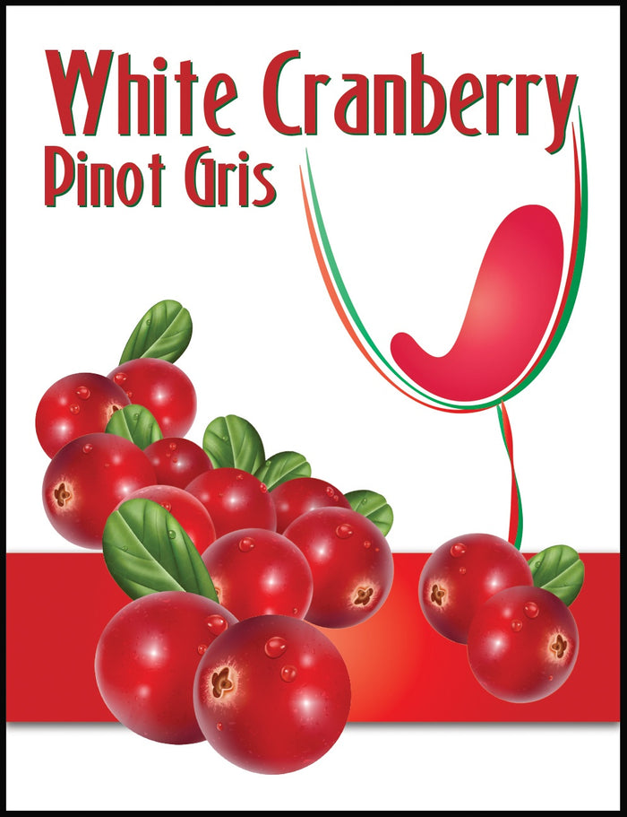 White Cranberry Pinot Gris Wine Labels - 30/Pack