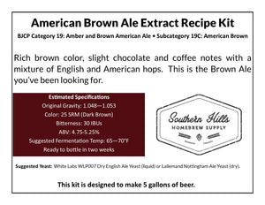 American Brown Ale 5 Gallon Extract Recipe Kit