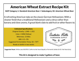 American Wheat 5 Gallon Extract Recipe Kit