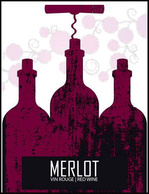 Merlot Wine Labels - 30/Pack