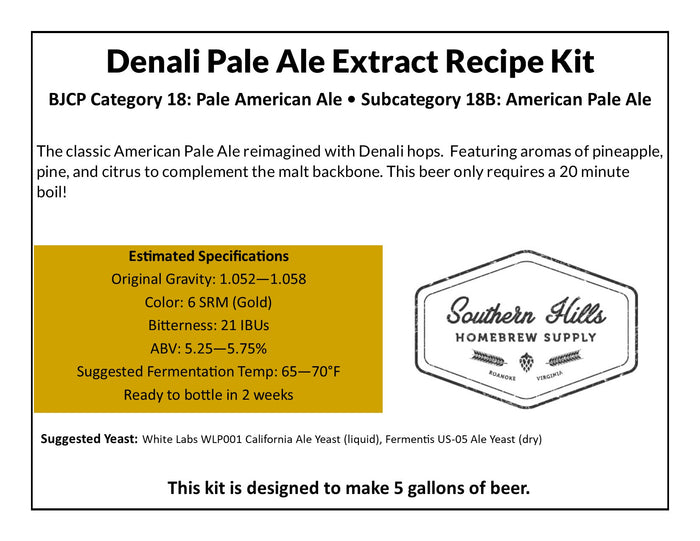 Denali Pale Ale 5 Gallon Extract Recipe Kit