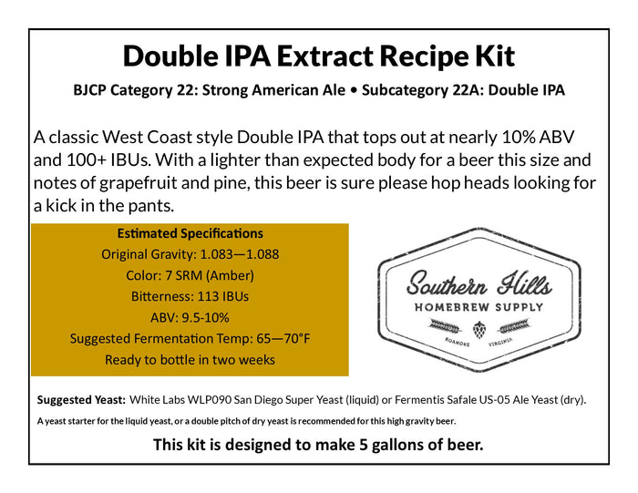 Double IPA 5 Gallon Extract Recipe Kit
