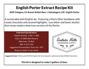 English Porter 5 Gallon Extract Recipe Kit