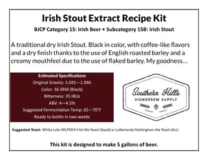 Irish Stout 5 Gallon Extract Recipe Kit