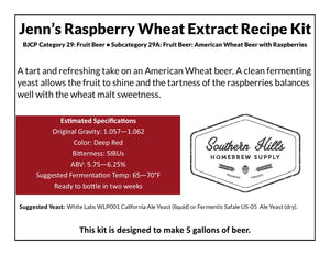 Jenn's Raspberry Wheat 5 Gallon Extract Recipe Kit