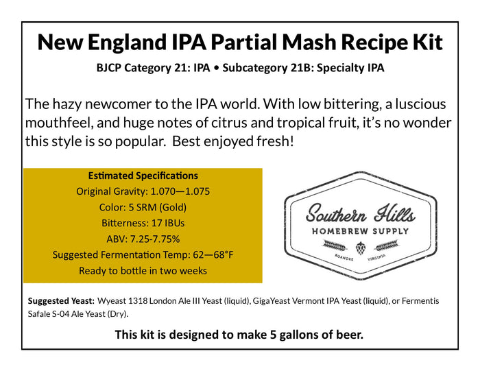 New England IPA Partial Mash Recipe Kit
