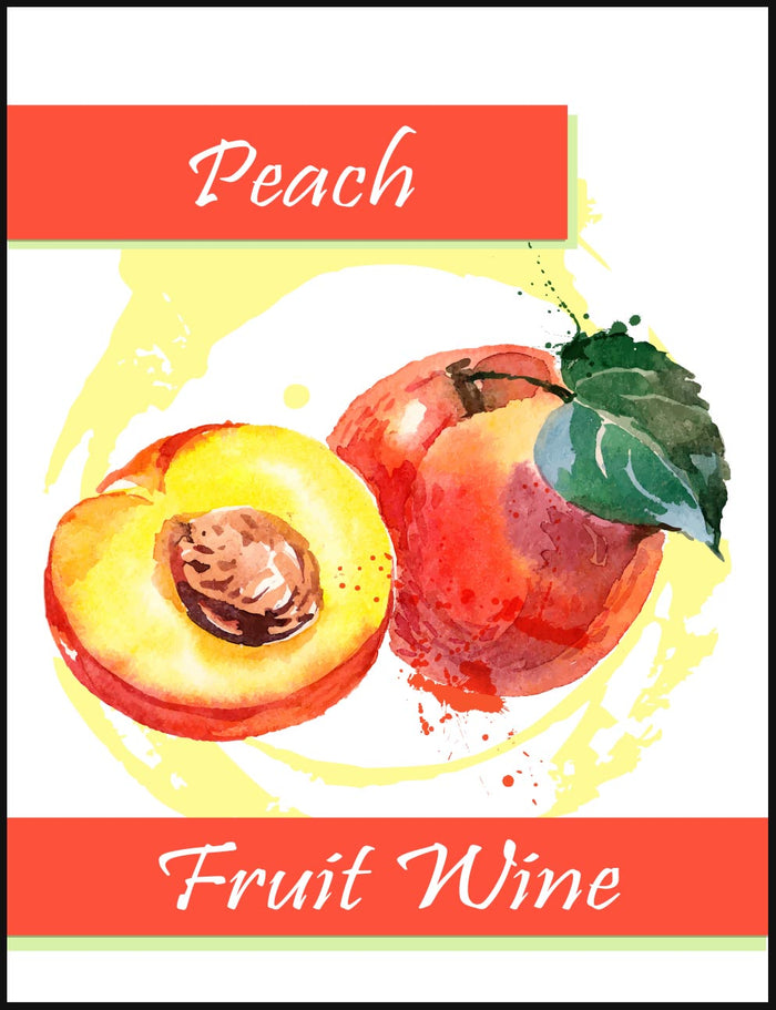 Peach Fruit Wine Labels - 30/Pack