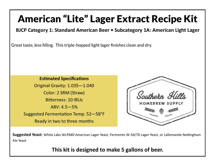 "American ""Lite"" Lager 5 Gallon Extract Recipe"