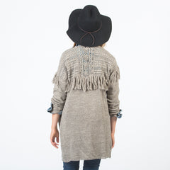 LENITA Cotton Crochet Yoke Fringe Cardigan