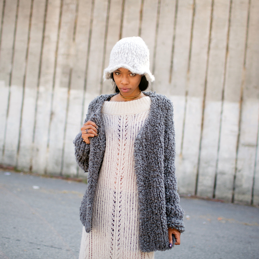 DEMI Oversized Furry Cardigan (Handmade - GREY: ready to ship)