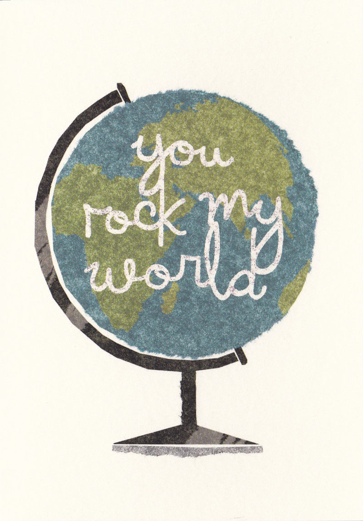 I Ended Up Here Greeting Card: Torn Paper Globe