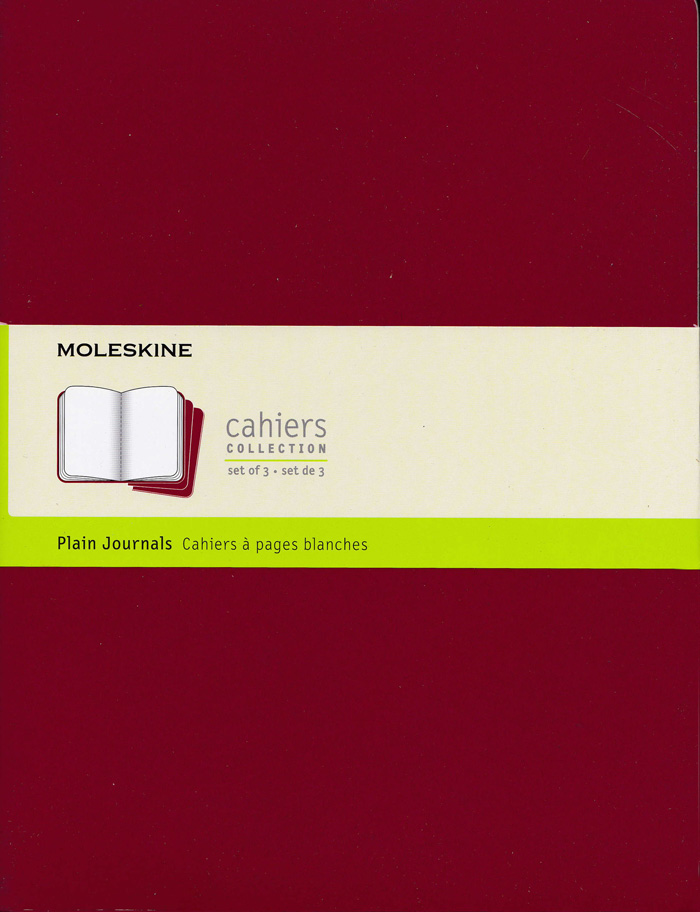 Moleskine Cahier Notebook Set of 3: XLarge: Plain: Red