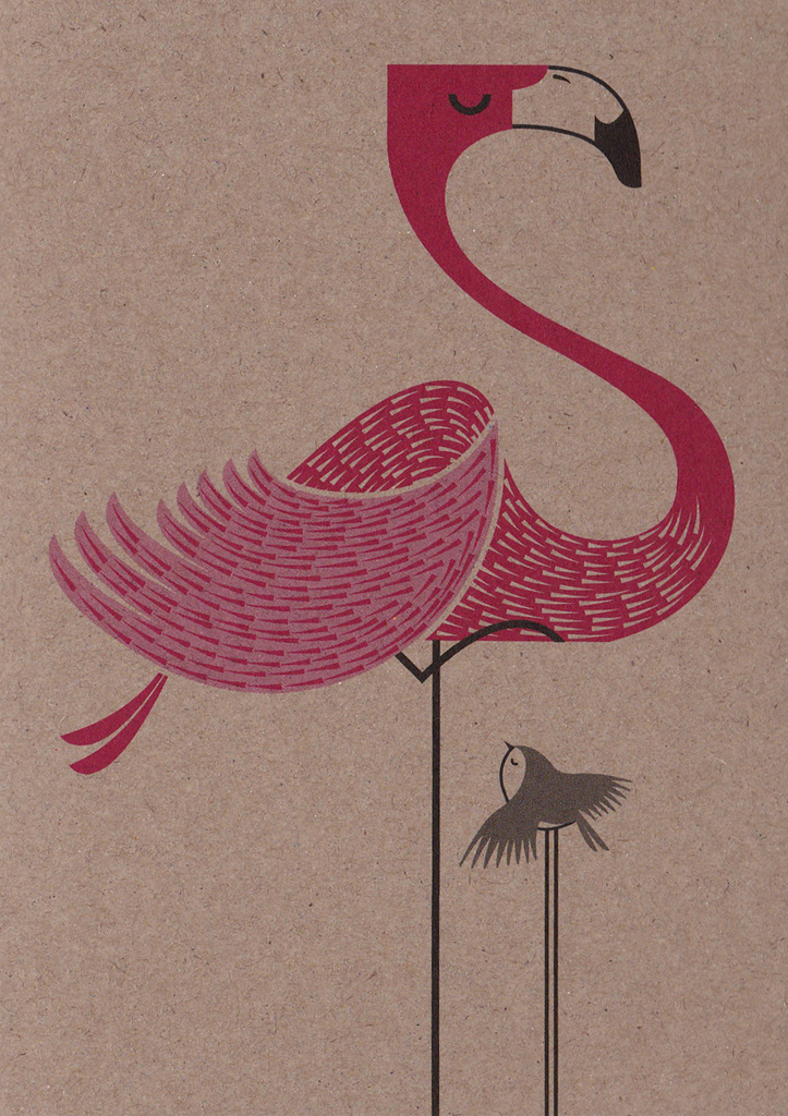 I Ended Up Here Greeting Card: Boxboard Flamingo