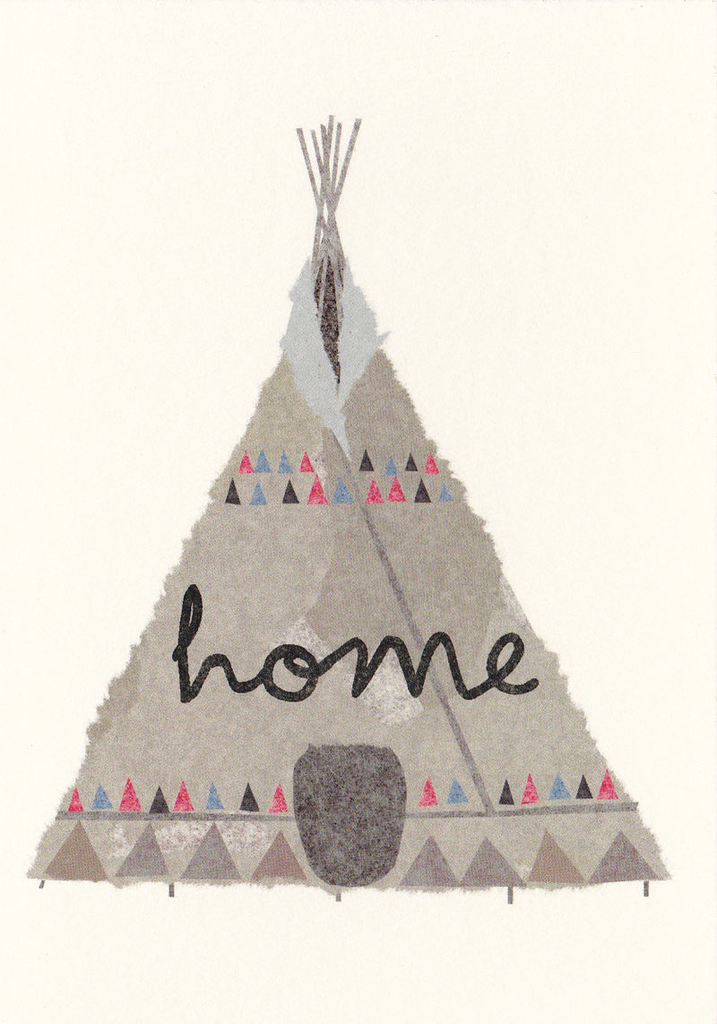 I Ended Up Here Greeting Card: Torn Paper Tee Pee