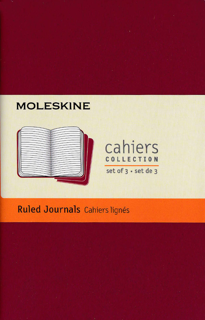 Moleskine Cahier Notebook Set of 3: Pocket: Ruled: Red