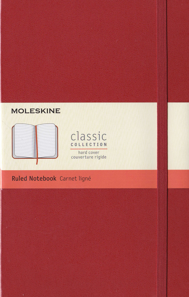Moleskine Classic Hard Cover Notebook: Large: Ruled: Coral Orange