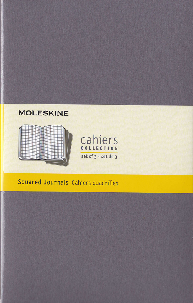 Moleskine Cahier Notebook Set of 3: Large: Squared: Grey