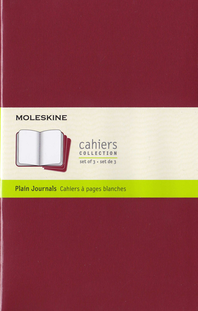 Moleskine Cahier Notebook Set of 3: Large: Plain: Red