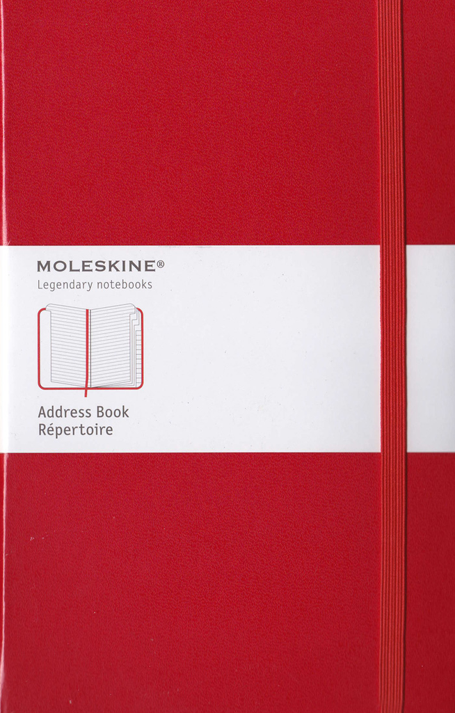 Moleskine Classic Hard Cover Notebook: Large: Address Book: Red