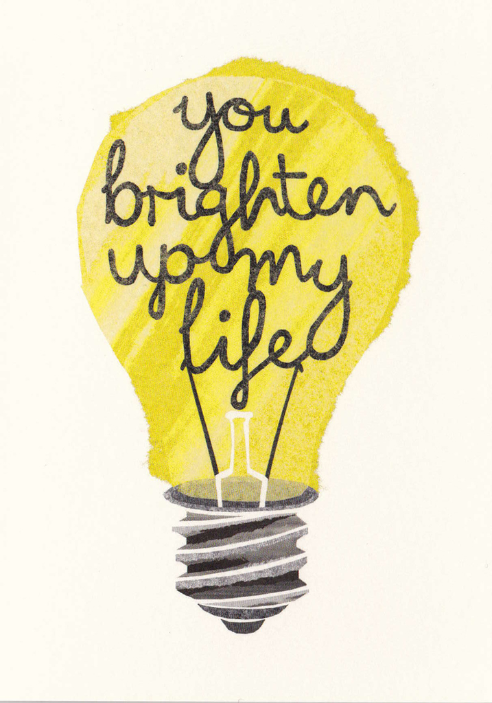 I Ended Up Here Greeting Card: Torn Paper Light Bulb