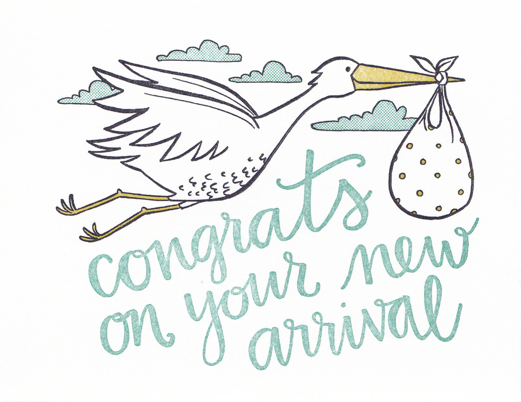 One Canoe Two Greeting Card: Congrats On Your New Arrival Stork