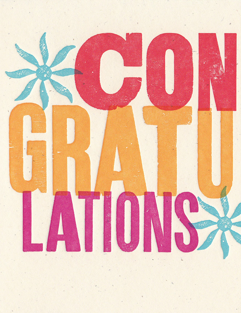 Wood Type Greeting Card: Congratulations