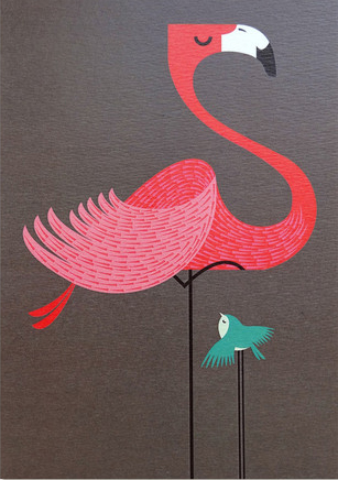 I Ended Up Here Greeting Card: Fancy Flamingo