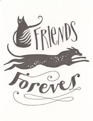 Calligraphy Greeting Card Friends Forever